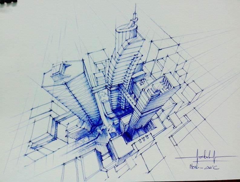 034建築設計師手稿作品