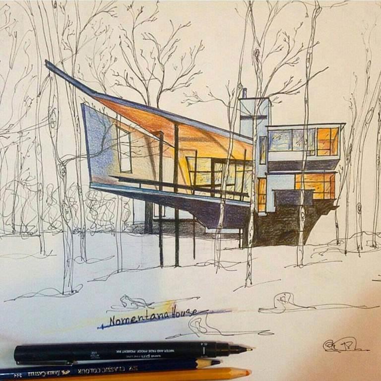 090建築設計師手稿作品