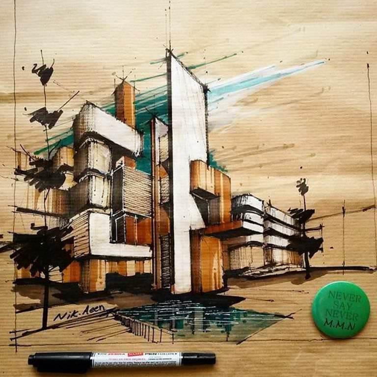 095建築設計師手稿作品
