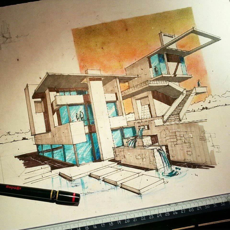 102建築設計師手稿作品