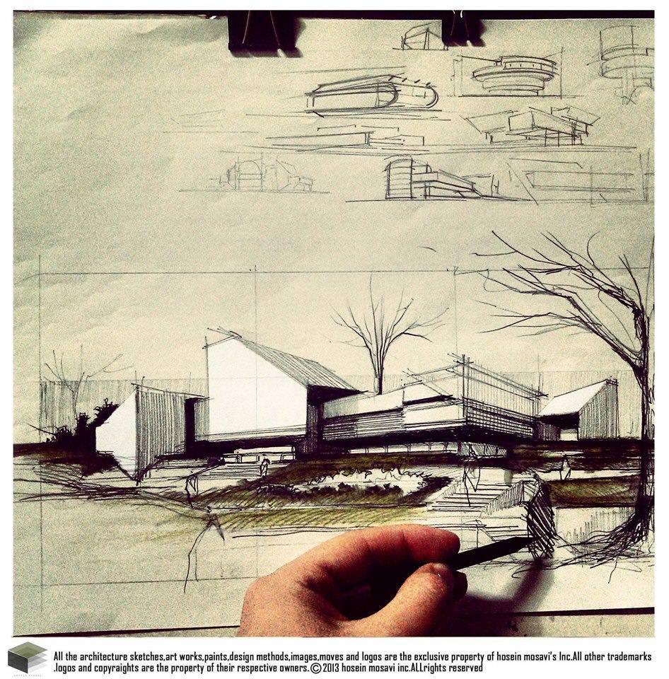 128建築設計師手稿作品