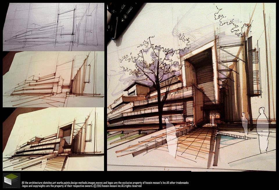 129建築設計師手稿作品