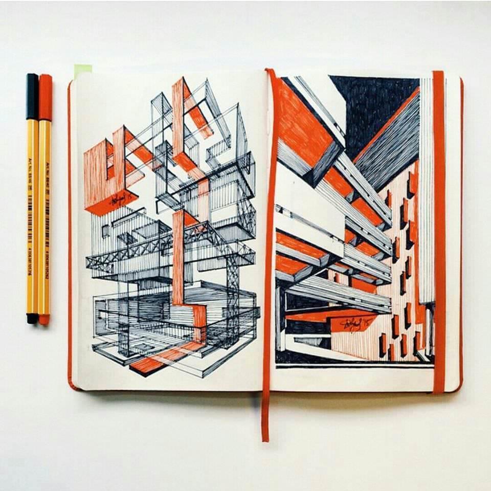 136建築設計師手稿作品