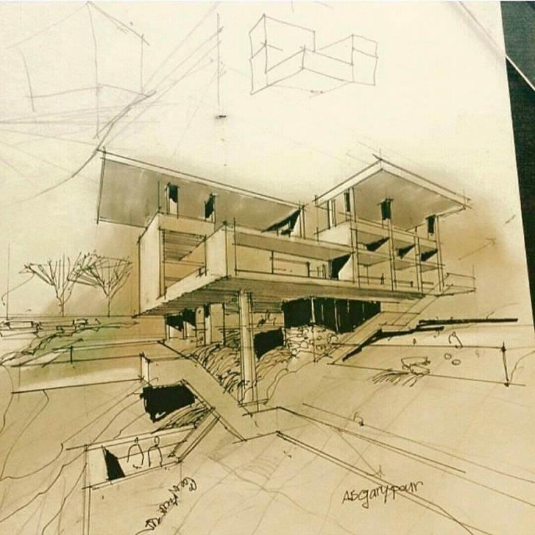 166建築設計師手稿作品