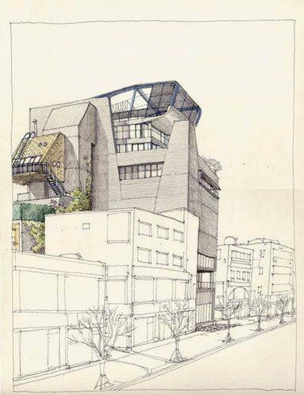 168建築設計師手稿作品