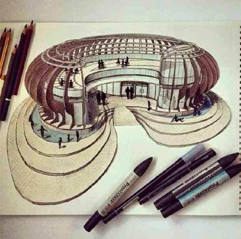 173建築設計師手稿作品