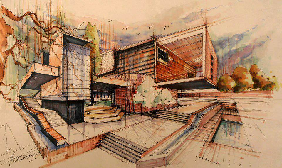 193建築設計師手稿作品