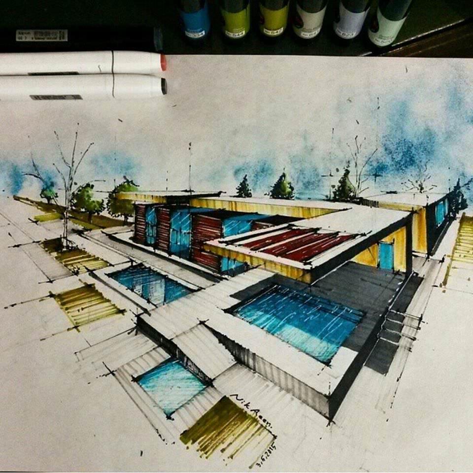 194建築設計師手稿作品