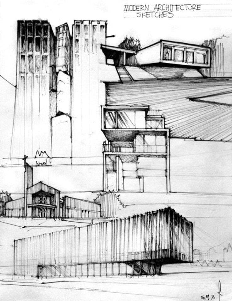 198建築設計師手稿作品