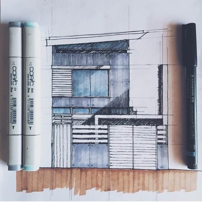 275建築設計師手稿作品