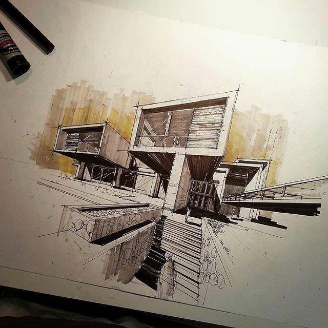 296建築設計師手稿作品