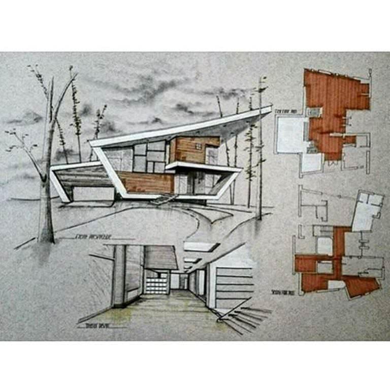 345建築設計師手稿作品