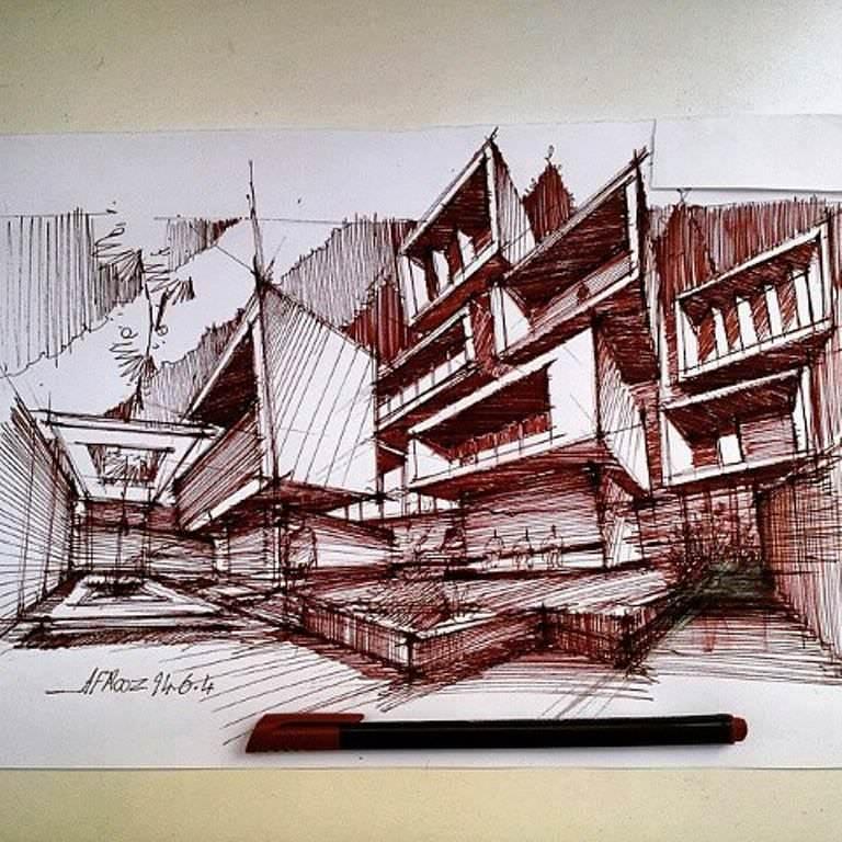 390建築設計師手稿作品