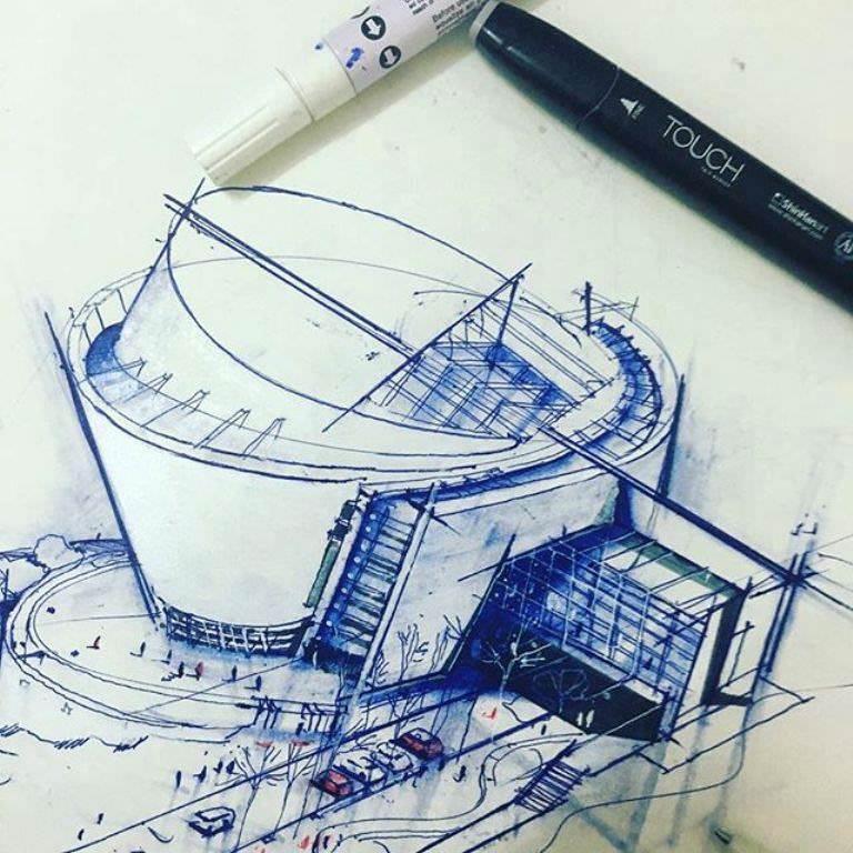 444建築設計師手稿作品