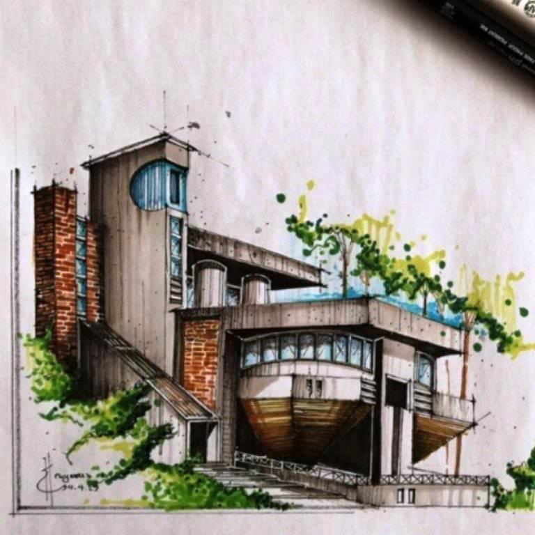 445建築設計師手稿作品
