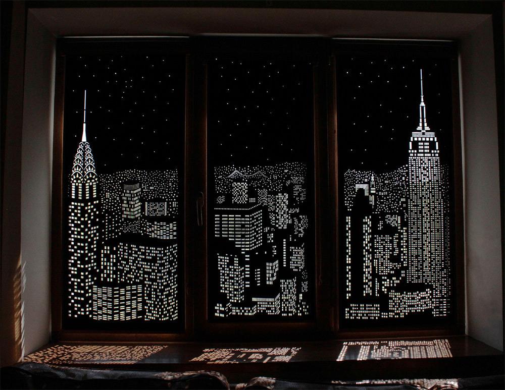 城市夜光遮光簾