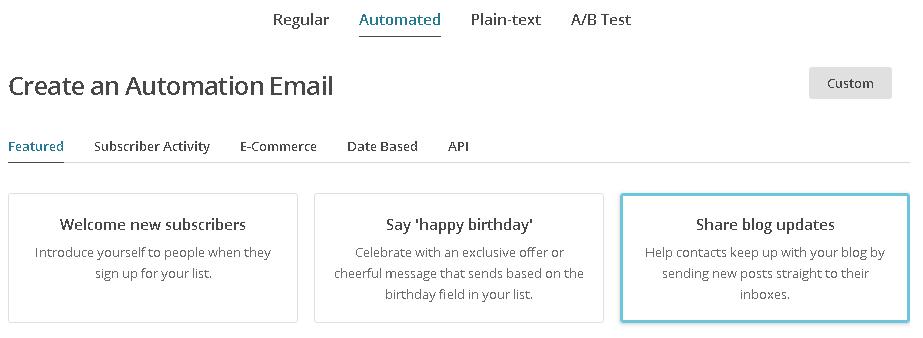 mailchimp部落格RSS發送