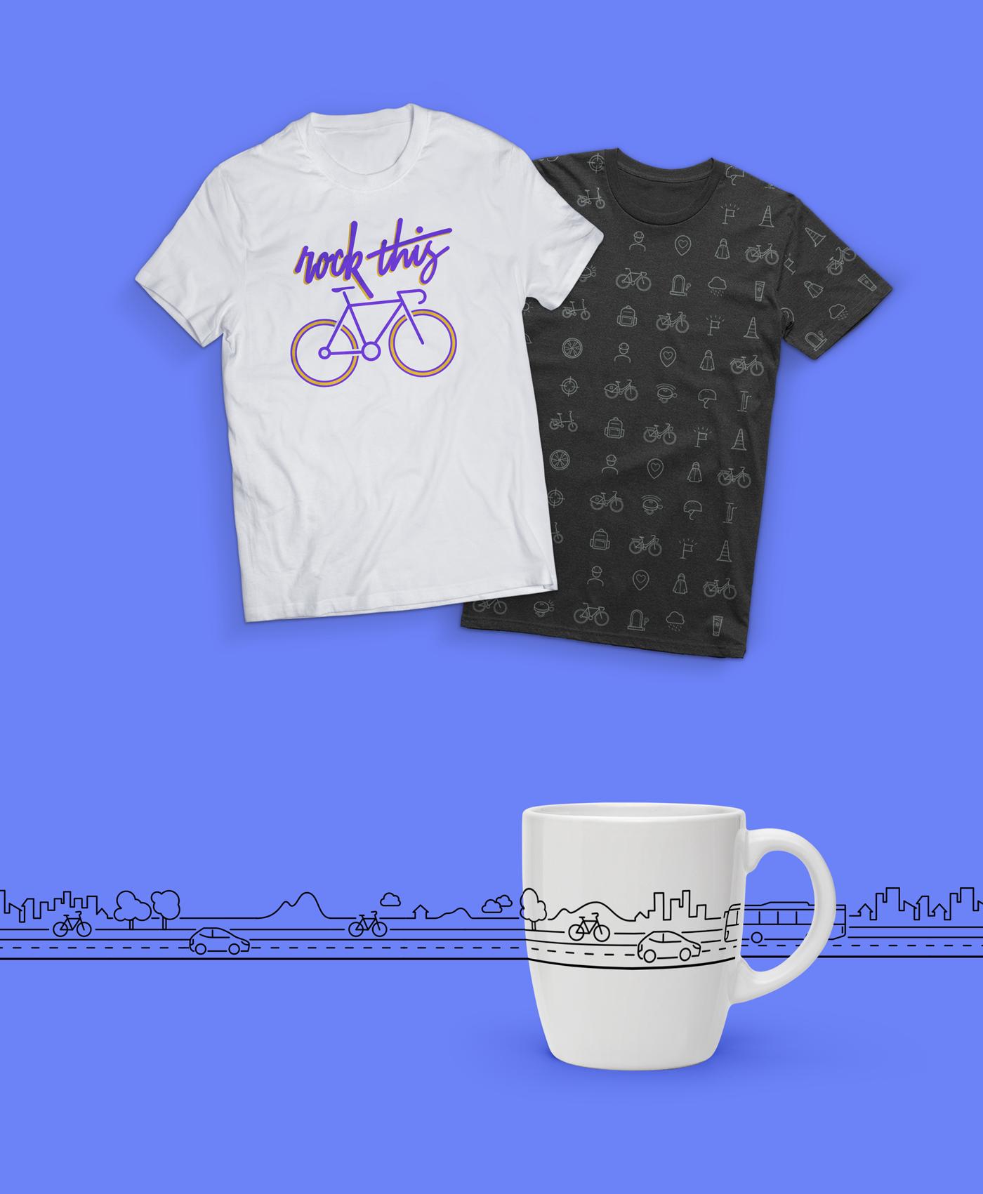 單車圖示應用在衣服與馬克杯