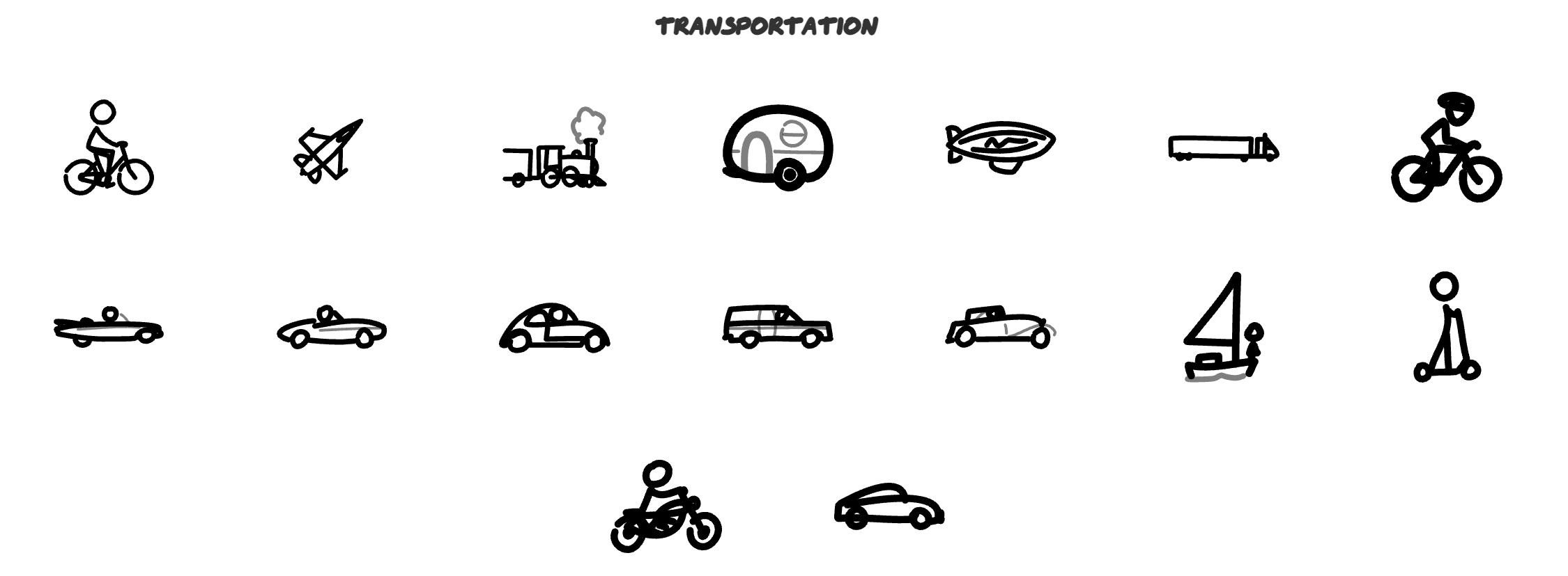 手繪交通工具iocn圖標